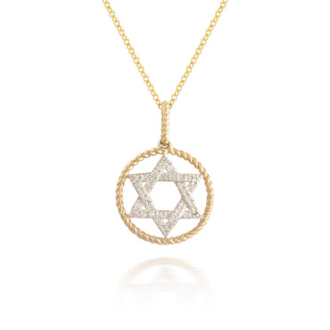 Madison L Encircled Star of David Diamond Pendant