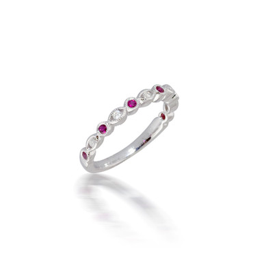 Madison L Ruby and Diamond Bezel Band