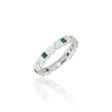Madison L Shimmer and Shine Stackable Emerald and Diamond Ring