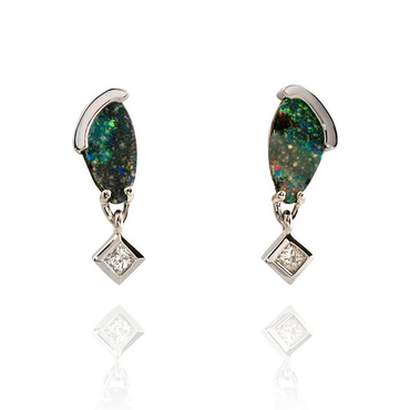 Boulder Opal and Diamond Earings