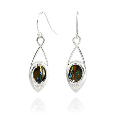 Inverted Boulder Opal and Trillion Cut Diamond Teardrop Earrings