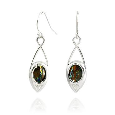 Inverted Boulder Opal and Trillion Cut Diamond Teardrop Earrings