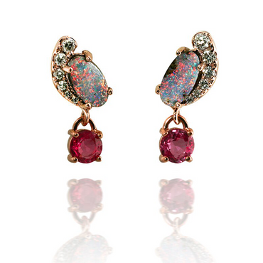 Boulder Opal and Pink Sapphire Earrings
