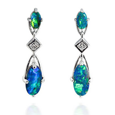 Dangling Boulder Opal and Diamond Earrings