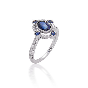 Bassali Oval Diamond and Sapphire Ring