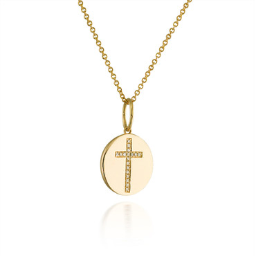 Yellow Gold Disc Diamond Cross Pendant