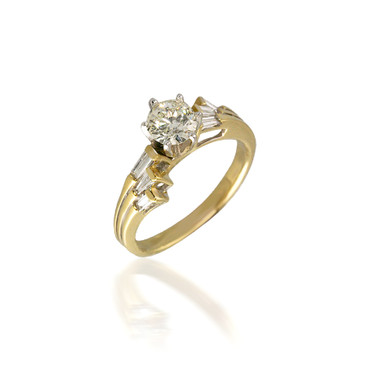 Round and Baguette Diamond Bypass Engagement Ring