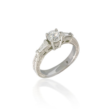 Vintage Style Three Stone Diamond Engagement Ring