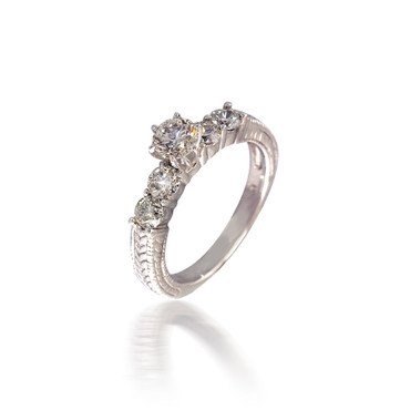 Five Stone Engagement Ring with Vintage Band