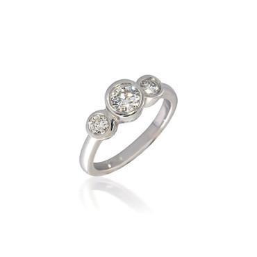 Three Stone Bezel Set Round Diamond Engagement RIng