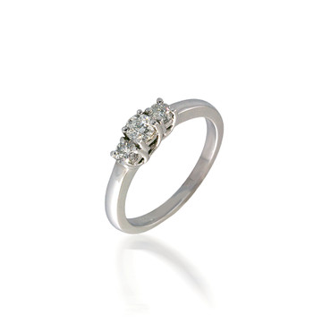 Petite Three Stone Round Lucida-Style Engagement Ring