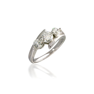 Three Stone Round Diamond Bypass Engagement Ring