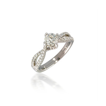 White Gold Cardinal Bypass Engagement Ring with Twisted Shank