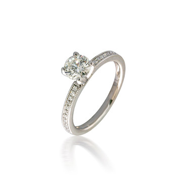 Solitaire Engagement Ring with Beaded Diamond Band