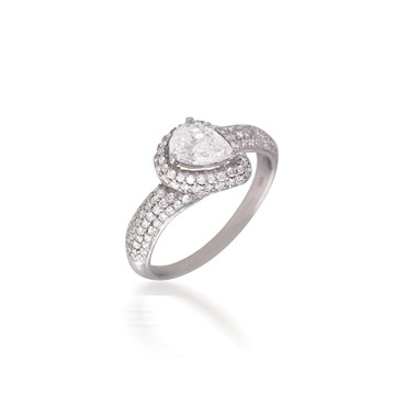 Pear-Shaped Pave Halo Bypass Engagement Ring