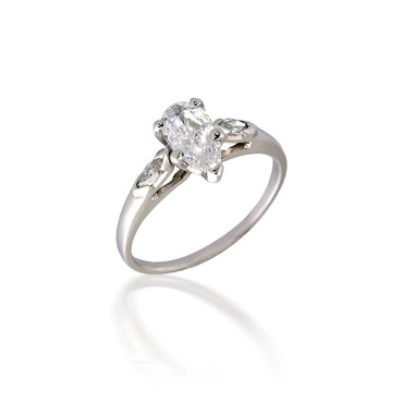 Three Stone Pear and Marquise Diamond Engagement Ring
