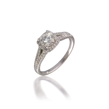 Diamond Cushion-Shaped Halo Engagement Ring with Split-Shank