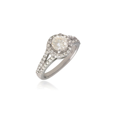 Round Diamond Halo Engagement Ring with Split-Shank