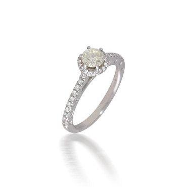 Rippling Diamond Halo Engagement Ring