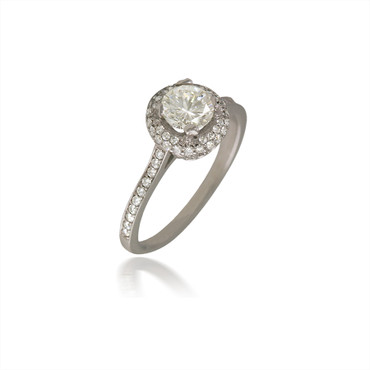 Diamond Halo Engagement Ring with Adorning Head