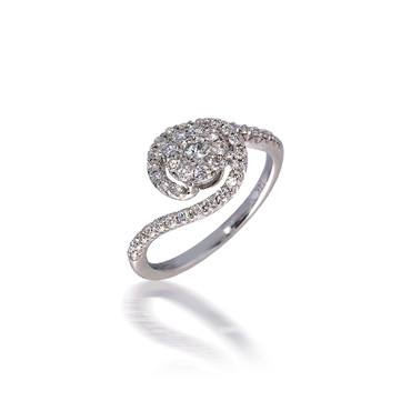 Bypass Halo Diamond Cluster Engagement Ring