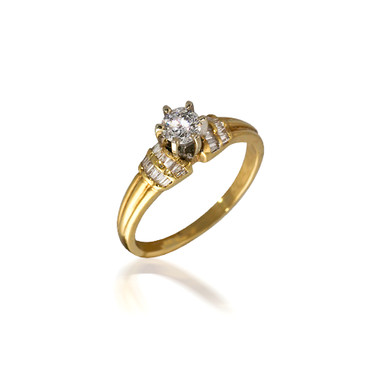 Baguette and Round Diamond Engagement Ring with Grooved Band