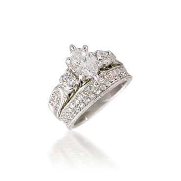 Vintage-Style Three Stone and Pave Bridal Set