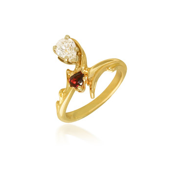 You & Me Bypass Diamond and Ruby Ring