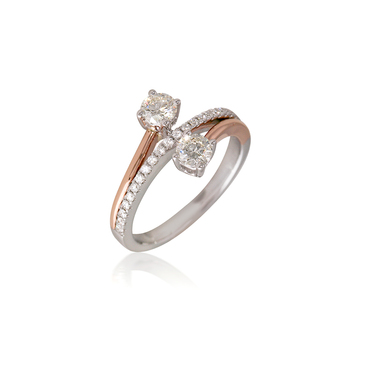 Two Tone You & Me Diamond Bypass Engagement Ring