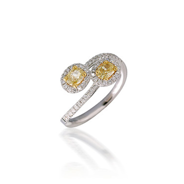You  & Me Bypass Yellow Diamond Engagement Ring