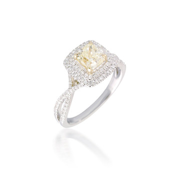Double Cushion Halo Engagement Ring with Yellow Diamond
