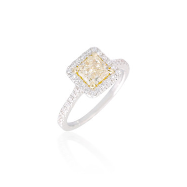 Cushion-Shaped Yellow Diamond Engagement Ring with Halo