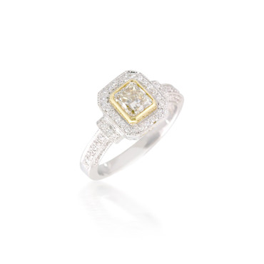 Octagon Halo Engagement Ring with Yellow Diamond