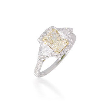 Yellow Diamond Three Stone Engagement Ring with Halo