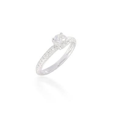 Diamond Solitaire Engagement Ring with Pave Band