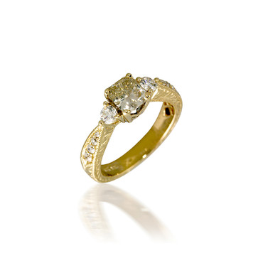 Vintage-Style Three Stone Diamond Engagement Ring