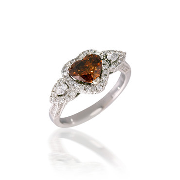 Three Stone Brown Heart Diamond Engagement Ring