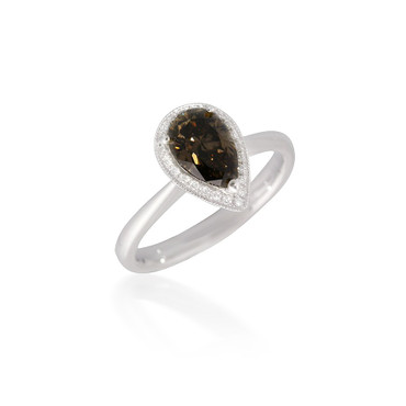 Pear-Shaped Brown Diamond Engagement Ring with Halo