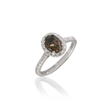 Oval Brown Diamond Engagement Ring with Halo