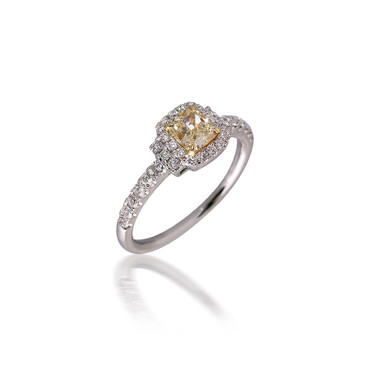 Fancy Yellow Cushion-Cut Diamond Engagement Ring