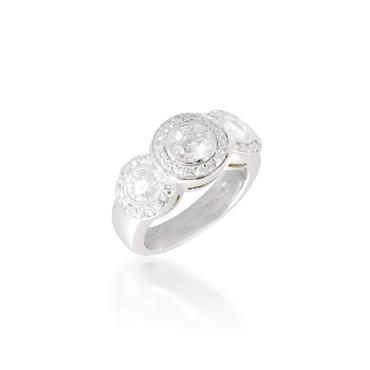 Round Three Stone Halo Engagement Ring