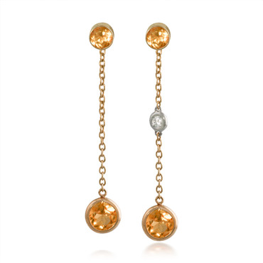 Round Citrine and Diamond Dangle Earrings