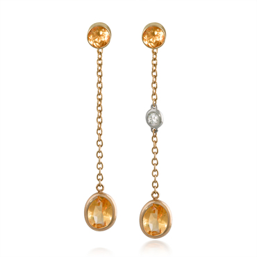 Oval Citrine and Diamond Dangle Earrings