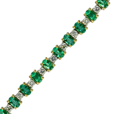 Classic Round Diamond and Oval Emerald Tennis Bracelet