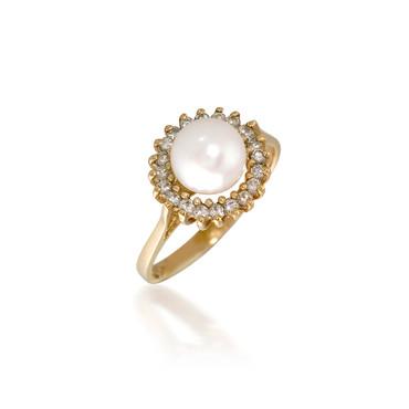 Pearl Diamond Halo Ring