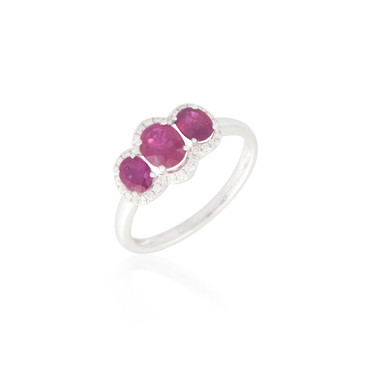 Three Stone Ruby Ring with Mingled Halo