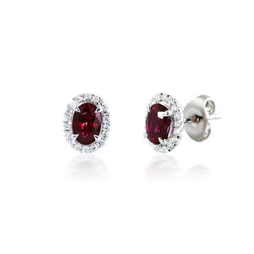 Oval Halo Diamond and Ruby Earrings