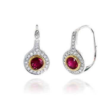 Two Tone Halo Diamond and Ruby Earrings
