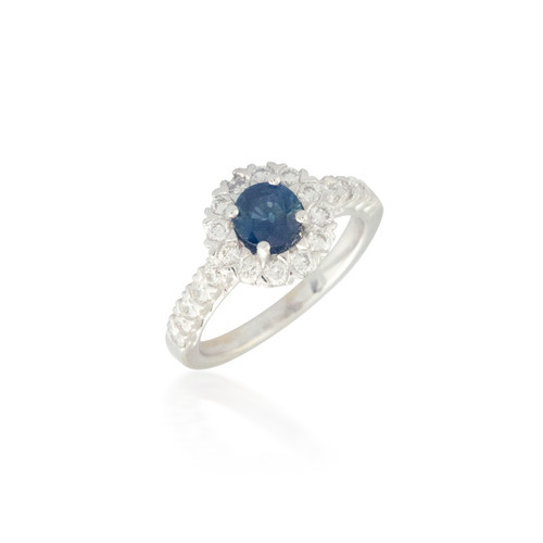 Round Sapphire and Diamond Halo Ring