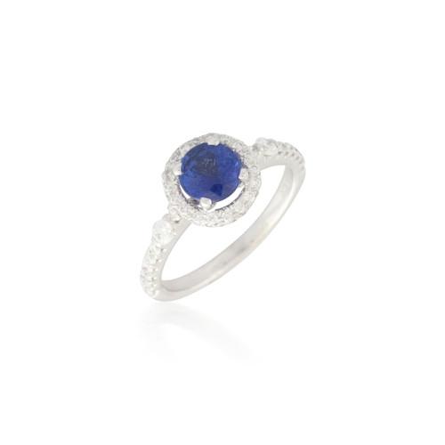 Round Sapphire Ring with Pave Diamond Halo